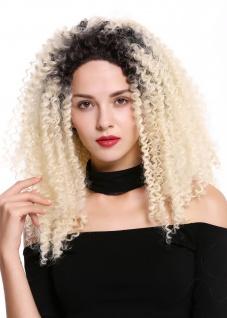 Perücke Damen Lace-Front Mono Volumen kraus gelockt Locken Ombre Schwarz Blond