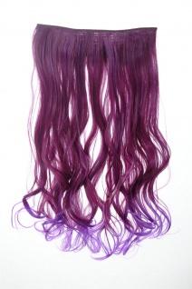 Haarteil breit Haarverlängerung 5 Clips wellig zweifarbig Granatrot-Blauviolett