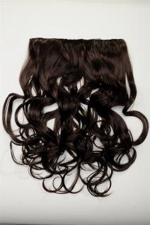 Clip-In Extension Haarverlängerung breit 5 Clip lockig braun hitzebeständig