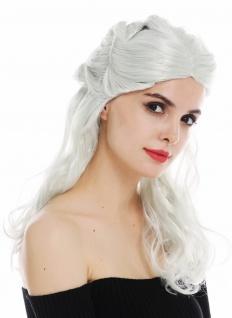 Perücke Karneval Damen lang aufwendig geflochten silber grau Mix Fantasy LARP