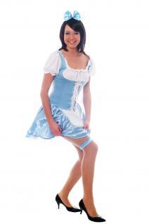 Damenkostüm: Hellblaues Dirndl Zofe Maid Zimmermädchen Dienstmagd Haarreif L009