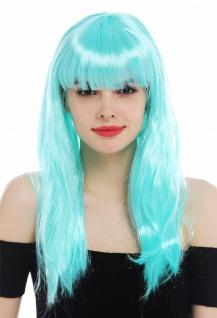 Perücke Karneval Damen lang glatt Pony weiß blau hellblau Perrücke Frau - Vorschau 2