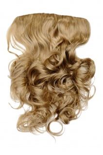 Clip-In Extension Haarverlängerung breit hitzefest 5 Clip lockig aschblond blond