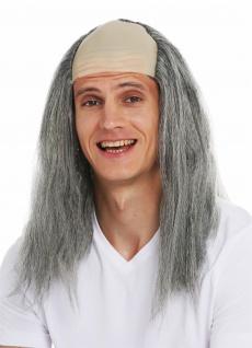 Perücke Karneval Halloween Herren Stirnglatze Halbglatze lang graue Haare Igor - Vorschau 2