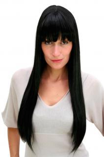 Perücke schwarz lang glatte Haare gerade fallend Pony Perrücke ca.65 cm 3113-1B
