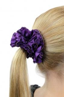 Schickes Haarband Haarbinder Haarrosette Stoff Scrunchy Lila dunkel Haargummi