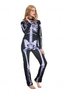 Kostüm Damen Frauen Halloween Karneval Skelett Knochengerippe Gespenst M W-0215