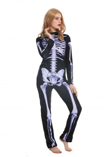 Kostüm Damen Frauen Halloween Karneval Skelett Knochengerippe Gespenst S W-0215