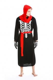 Kostüm Herren Damen Halloween Skelett Knochengerippe Mönch Zombie Dämon Gr. S/M - Vorschau 1