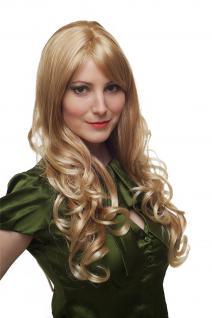 Perücke heller blond-mix Locken lang wig Kopfhautimitat Scheitel 60 cm 285-27T88