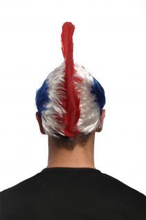 Perücke Fan Iro Irokese Punk Tricolore Frankreich France Blau-Weiß-Rot XR-012 - Vorschau 4