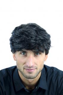 Perücke Herrenperücke Männer wellig sehr dicht dunkelbraun grau meliert CM-195