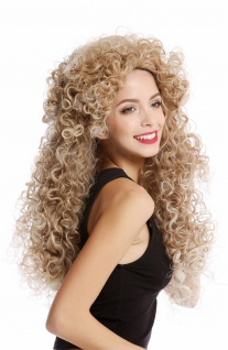 Perücke Damenperücke Cosplay krasse Locken Mähne lang voluminös Blond Mix Engel