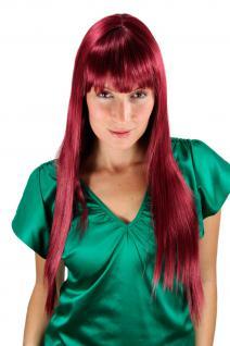 Sehr lange Damen Perücke rot-lila glatt stufige Spitzen Haarersatz 70cm LA033-39