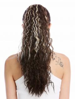 Haarteil Zopf lang voluminös lockig Krepplocken gekreppt Braun Blonde Strähnen
