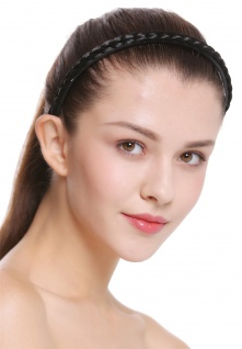 Haarband Haarreif geflochten Tracht traditionell tiefschwarz braid CXT-004-001