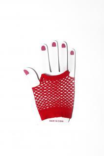 Handschuhe Netzhandschuhe Rot fingerlos Netz kurz 80er Punk Rocker Gothic Emo - Vorschau 2