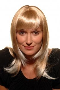 Perücke Damenperücke Frauen Blond Mix glatt schulterlang Pony 50cm 3003-27T613