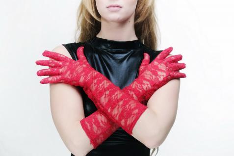 Burlesque Handschuhe Netzhandschuhe Spitze Spitzenhandschuhe Lang Rot Z075