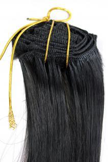 Clip-In, Achtteilig, Komplett-Set, Extensions, Haarverlängerung, schwarz, 40 cm, EX03-1