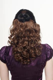 Haarteil, Halbperücke, Clip, Extension, lockig, braun, Länge: ca. 40cm, H9312-10 - Vorschau 1