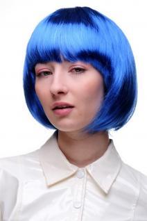 Sexy Party Perücke Bob blau Disco Go Go Girl Kurz & Frech Fasching Karneval NEU