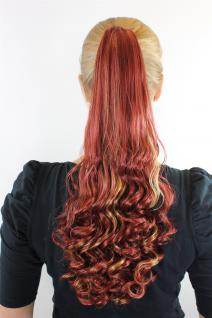 Haarteil Zopf Rot-Blond-Mix ca. 50cm gelockte Spitzen Extension SC-29-350H25