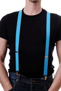 DRESS ME UP Halloween Karneval Hosenträger Suspenders Hellblau Blau W-068B-Blue