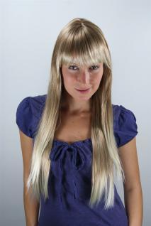 Blonde Damen Perücke Wig gesträhnt helle Spitzen sehr lang Pony 70cm LA033-27T88