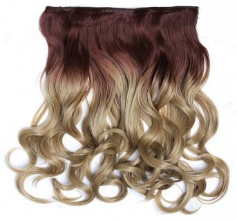 Clip-in Extension Haarverlängerung breit gelockt Locken Ombre Kupferbraun Blond
