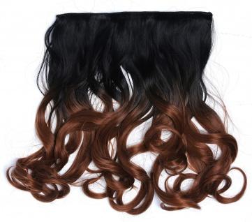 Clip-in Extension Haarverlängerung breit gelockt Locken Ombre Schwarz Rotbraun