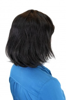100% Echthaar: Elegante schulterlange Damenperücke in Schwarzbraun 81095QHH-2 - Vorschau 3