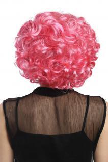 Perücke Damen Karneval Fasching Cosplay kurz pink rosa Locken Volumen Popstar - Vorschau 3