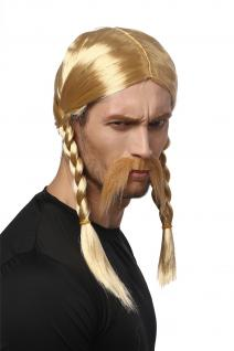 Perücke Bart Herren Karneval Halloween Blond Gallier Germane Barbar Zöpfe Viking