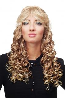 Damenperücke Perücke Blond Mischung lang Korkenzieher-Locken Pony DW89-27T613