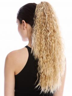 Haarteil Zopf lang voluminös lockig Krepplocken gekreppt Blond Platin Strähnen