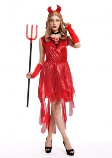 Kostüm Damen Frauen Halloween Karneval Teufelin Dämonin Hexe Hörner Kleid rot S
