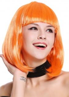 Perücke Damenperücke Karneval Longbob Bob schulterlang glatt Pony Orange 0073-3