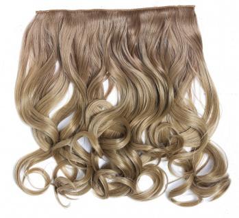 Clip-in Extension Haarverlängerung breit gelockt Locken Ombre Blond 40cm lang