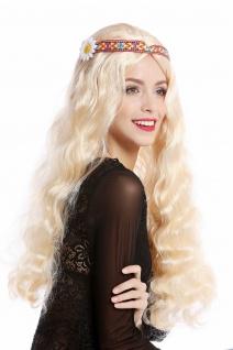 Perücke Blumenkind Hippie 60er 70er lang blond wellig Mittelscheitel Stirnband