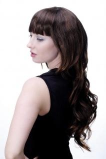 Damenperücke Wig lang wellig Braunmix brünett modisch Scheitel 60 cm 9011A-2T30 - Vorschau 4