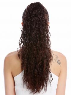 Haarteil Zopf lang voluminös lockig Krepplocken gekreppt Mahagoni Braun Strähnen