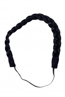 Haarteil: geflochtener Haarreif Haarband Haarkranz Schwarz YZF-3080-1
