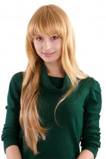 Perücke Frauen Damenperücke lang glatt Blond Mix süßer Pony 3301-C-27/613 65 cm