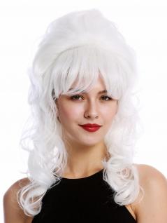 Perücke Damen Barock 60er retro Beehive Hochsteckfrisur Dutt lockig lang weiß