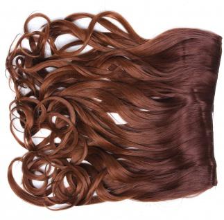 Clip-in Extension Haarverlängerung breit gelockt Locken Ombre Rotbraun Kastanie
