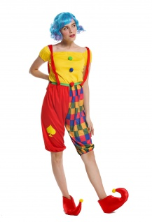 Kostüm Damen Frauen schmale Herren Karneval Clown Harlekin Narr S/M W-0232