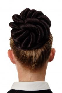 Haarknoten Dutt Haarteil groß geflochten Locken Schwarz-Rot-Mix N794-1SP99J