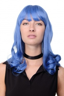 Qualitätsperücke Blau Capriblau Emo Popstar Gothic Pony lang wellig GFW1044A