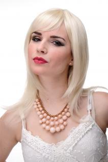 Glatte Frauen-Perücke Blond Blond-Mix Schulterlang & Pony ca. 50cm 3003-303/220